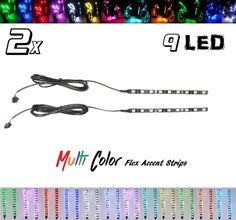 2x 9 LED Multi-Color Flexible Strip Accent Lights 5050 SMD #Shadz_LED