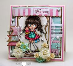 Dollie with Ice Cream rubber stamp