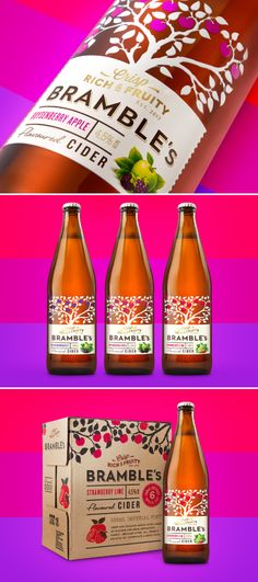 Bramble's Cider - Branding and packaging design for a premium fruit infused range of Ciders. #packaging #design #cider #summer