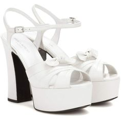 Saint Laurent Candy 80 Leather Platform Sandals (26,615 THB) ❤ liked on Polyvore featuring shoes, sandals, heels, white, white platform shoes, leather heeled sandals, white shoes, genuine leather shoes and heeled sandals