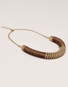 Pull&Bear - woman - jewellery - chain necklace - ochre - 05994364-V2015