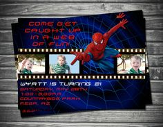 Spider-Man Film Strip Birthday Invitation by Sassygfx on Etsy $15
