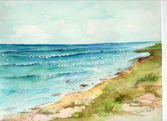 Aruba original watercolor painting.ocean art by SharonFosterArt, $35.00