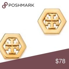 Tory Burch Gold Tone Hex Logo Earrings Tory Burch Gold-Tone Hex Logo Earrings.  New with tags.  16K gold plated.  Make for a great gift.  Bundle and save by matching with the gold-tone bracelet.  Includes dust bag. Tory Burch Jewelry Earrings