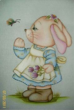 Coelhinha Tole Painting, Fabric Painting, Diy Painting, Summer Painting, Painting For Kids, Cute Animal Illustration, Illustration Art, Punch Art Cards, Arte Country