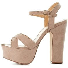 Bamboo Chunky Heel Platform Sandals ($35) ❤ liked on Polyvore featuring shoes, sandals, taupe, platform wedge sandals, thick heel sandals, block heel sandals, chunky heel platform shoes and padded sandals