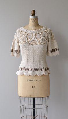 Topolnitsa sweater vintage 1930s crochet sweater by DearGolden