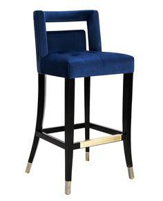 Hart Navy Velvet Bar Stool by Tov Furniture Bar Furniture, Cheap Furniture, Modern Furniture, Kitchen Furniture, Furniture Stores, Industrial Furniture, Classic Furniture, Discount Furniture, Luxury Furniture