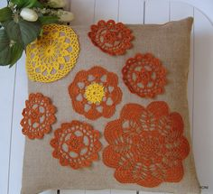 """Pillowcase jute """"WITH LACE"""" by WYROBYZJUTYHONI on Etsy"""