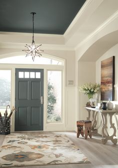 Shop the Look Traditional Foyer Design by Sherwin-Williams® in Sherwin-Williams. Shop the Look Traditional Foyer Design by Sherwin-Williams® in Sherwin-Williams® Home Office & En Foyer Paint Colors, Interior Paint Colors, Interior Design, Paint Colours, Bedroom Colors, Wall Colors, Interior Architecture, Dark Ceiling, Colored Ceiling