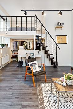 Check Out 25 Impressive Loft Bedroom Design Ideas. A loft bedroom can be built in a small studio apartment as well as in a spacious industrial building. Style At Home, Small Apartments, Small Spaces, Studio Apartments, Deco Studio, Loft Studio, Decoration Inspiration, Decor Ideas, Bedroom Loft