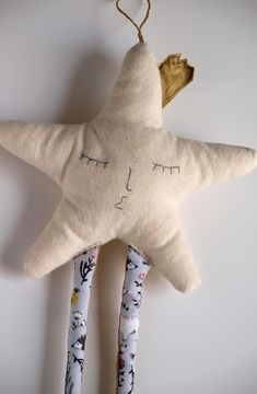 Soft star plush Beige star ornament with legs Hanging ornament Embroidered star Handmade Teacher gift Xmas gift Star chistmas decorations