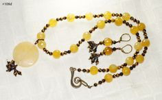 "Tiger eye, Calcite and Agate Necklace set - ""Sunflower"" by Hastkalaa on Etsy"