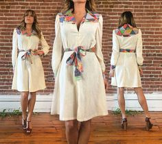 Vintage 1970's PATCHWORK Gauze Linen Summer Boho Dress