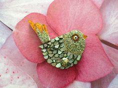 Sprin Green Mosaic Bird / Mosaic Jewelry Hanger by RachaelCao, $25.00