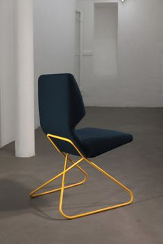 The profile of the chair is characterized by two mirrored and rotated triangles, providing the biggest thickness of the foam at the back of the seat and at the lumbar area of the backrest. The inner construction is made of single-axial bent plywood shell at two points where the volumes of the cushions end. Shell and glued foam are fully upholstered, resulting in a single pulsating form. Legs are made of solid wood or lacquered tubular steel.
