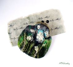 Wet Felted  Field grass coin purse bag frame metal closure Handmade Ready to Ship with ift for her
