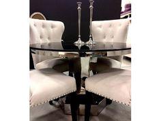 Deco rundt spisebord med sort bordflate
