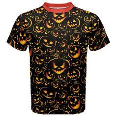 New Halloween Pumpkin Print Men's Black Cotton Short Sleeve T-Shirt Size XS-3XL