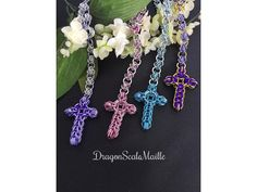 One Chainmaille Rosary Catholic Prayer Beads by DragonScaleMaille