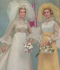 wedding dress and bridesmaid dress. Princess Leia hair anyone? ==>>Learn about Wedding Trends in the & at Peppermint Twist Vintage. Vintage Outfits, Vintage Dresses, Vintage Fashion, Ugly Dresses, Vintage Wedding Photos, Vintage Bridal, Vintage Weddings, 1970s Wedding Dress, Wedding Gowns