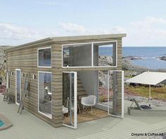 Attefallshus dreams & coffee ab new house Small Cottages, Cottages By The Sea, Small Houses, Shipping Container Home Designs, Container House Design, Tiny House Furniture, Tiny Spaces, Prefab Homes, Home Design Plans