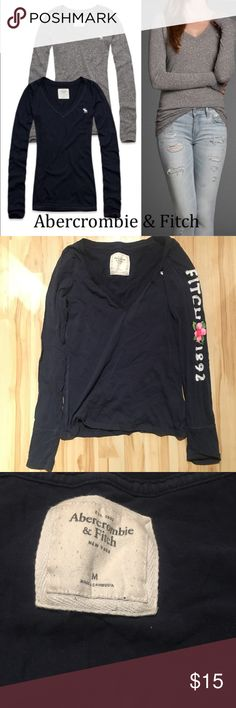 AF logo long sleeve tee Super cute long sleeve tee with Fitch logo one sleeve. Very cute and comfortable. Worn only once. Size medium but fits smaller Abercrombie & Fitch Tops Tees - Long Sleeve