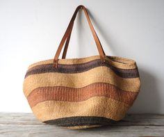 Oversize Woven Leather Southwestern Bag.