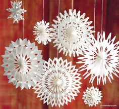 Our airy Roost Paper Snowflake Ornaments are reminiscent of childhood craft projects, pearlized white paper is folded. Three delicate styles ship in each mixed case pack.