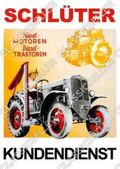 Schlüter Traktor Schlepper DS25B Poster Plakat Bild Tafel Schild S450 Diesel | eBay