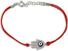 Hamsa Evil Eye Kabbalah Red String Bracelet in sterling silver with Swarovski crystals