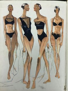 Fashion Design Drawing Design Sketches for ANNE Klein Swimsuits I designed in 1994 Lingerie Illustration, Illustration Mode, Fashion Illustration Sketches, Fashion Sketches, Fashion Poses, Fashion Art, Trendy Fashion, Fashion Design Sketchbook, Fashion Design Drawings