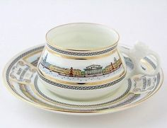 Russian Imperial Lomonosov porcelain bone Tea cup and saucer Embankments of Neva