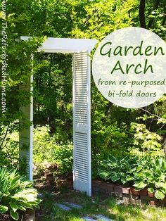 Repurposed bi-fold doors become a pergola style garden arch in just a few easy steps!