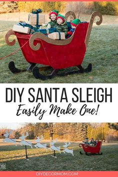 DIY Santa Sleigh and Reindeer: see how to easily make a wood outdoor santa sleigh using a template pattern! Great idea for exterior holiday decoration and so easy to use with spray paint! This is a fun DIY project your kids will LOVE! Christmas Yard Art, Christmas Wood Crafts, Christmas Diy, White Christmas, Christmas Sleighs, Country Christmas, Christmas Trees, Christmas Ornaments, Outdoor Reindeer