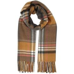 Miss Selfridge Camel/Pink Check Scarf (£21) ❤ liked on Polyvore featuring accessories, scarves, tan, pink scarves, pink shawl, checkered scarves and miss selfridge