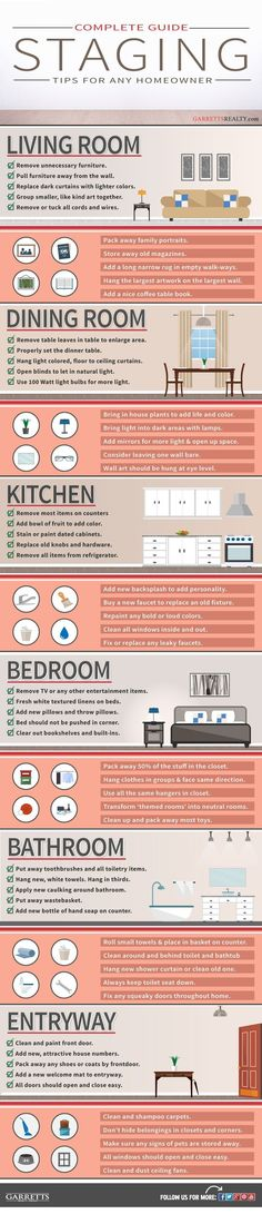 60 different tips to follow when staging a home for sale - Infographic. Real Estate.