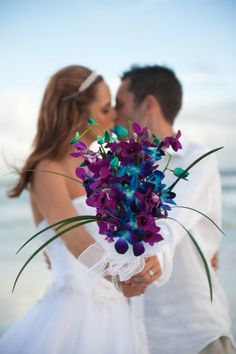 Stunning Blue and Purple Orchids, Beach Wedding Bouquet.