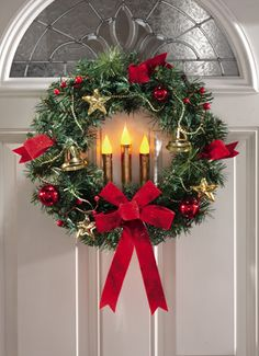 Lighted Candles Jingle Bells Holiday Christmas Wreath