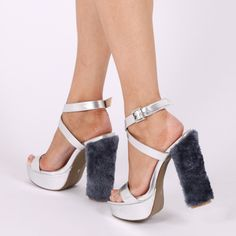 484fafd6d5a Analise Faux Fur Heel Platforms in Silver. Public DesireFootwearHatsSilverRipped  ...