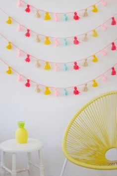 If you have a skein of yarn, the tassel bunting above is incredibly simple to put together. Follow the pictorial step-by-step on Bloesem Kids.