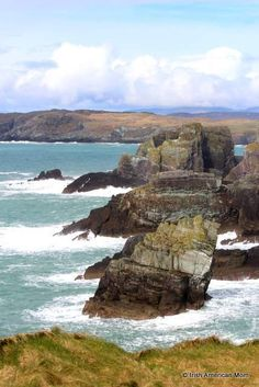 The view from Mizen Head in West Cork Ireland - spectacular cliffs and coastline scenery.