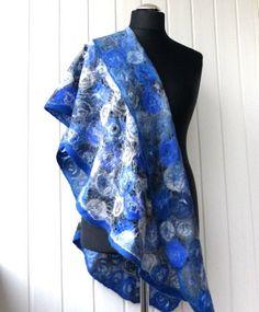 Felted shawl wool Blue & White Handmade Felt от crazywoolLT, $75.00