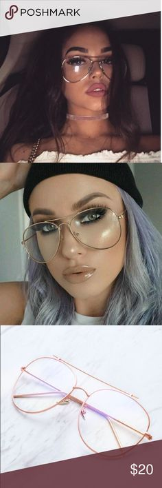 Rose Gold Aviator Glasses Super trendy aviator clear lens eye glasses. No prescription, comes with case. Not from listed brand Brandy Melville Accessories Glasses