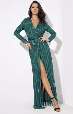 Green Sparkle Stripes Cross V-Collar Body Evening Gown Going Out Dresses, Nice Dresses, Formal Dresses, Women's Dresses, Elegant Dresses, Striped Maxi Dresses, Sequin Dress, Sparkle Outfit, Western Gown