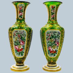 Pair of Antique Bohemian Green Overlay Glass Vases with Hand Painted Flowers Cross Hatching, Painted Flowers, Urn, Czech Glass, Overlays, Vases, Glass Art, Bohemian, Hand Painted