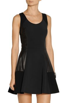 Rag & boneMontrose leather-paneled stretch-crepe dress
