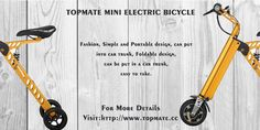TOPMATE MINI ELECTRIC BICYCLE FASHION(GREEN,GRAY,GOLDEN,THREE COLOR OPTIONS) For more information please visit:www.topmate.cc Green And Grey, Gray, Car Trunk, Electric Bicycle, Outdoor Power Equipment, Color, Design, Fashion, Electric Push Bike