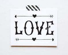 LOVE Hand-lettered Card, Friendship, Anniversary, Wedding by The Paper Cub We love this card and carry it even when it's not Valentine's!