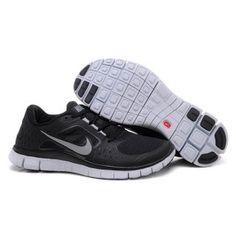 Billig kj?pe 2012 Dame Nike Free Run 3 Svart Hvit